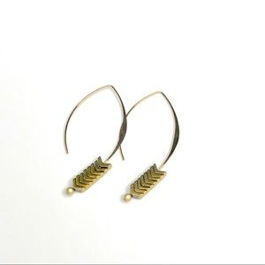 Gold Hoop Drop Earrings with Gold Stones